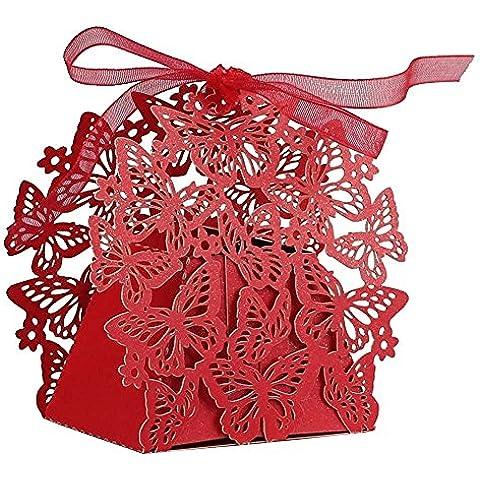 50pc farfalla taglio laser diy candy cookie Scatole Regalo con Nastro romantico decorazione di Feste (Cookie Regalo Farfalla)