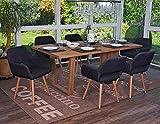 Esszimmerstuhl HWC-A50 II, Stuhl Lehnstuhl, Retro 50er Jahre Design ~ Textil, dunkelgrau - 8