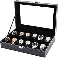 Tebery Boîte à Montres avec 12 Compartiments, Rangement pour Montres avec couvercle en verre, Ecrin Coffret Montre, Cuir…