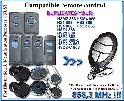 HSM2/HSM4/HS1/HS2/HS4/HSE2/HSD2-A/HSD2-C/HSP4/HSP4-C/HSZ1/HSZ2 compatible émetteur de remplacement de la télécommande, 868,3Mhz fixed code