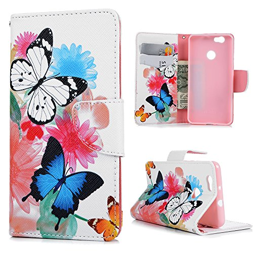 Preisvergleich Produktbild Huawei NOVA Hülle,KASOS Huawei NOVA Case Bunt Gemalt Book Type PU Leder +TPU Innere Tasche Brieftasche Etui und Magnetverschluss Ledertasche Schutzhülle Cover Handyhülle,Schmetterling