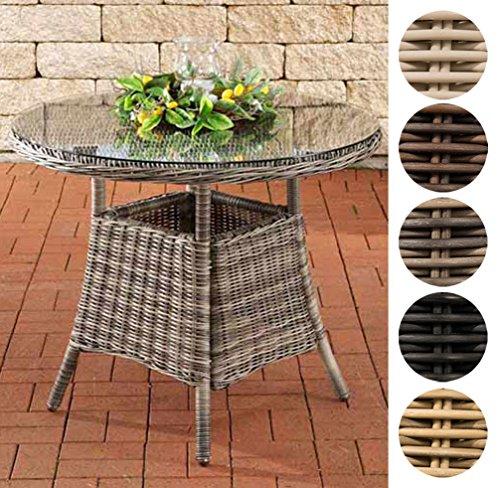 CLP Polyrattan Tisch FARSUND I Gartentisch mit runder Tischplatte aus Sicherheitsglas I Balkontisch für bis zu 4 Personen I erhältlich Schwarz