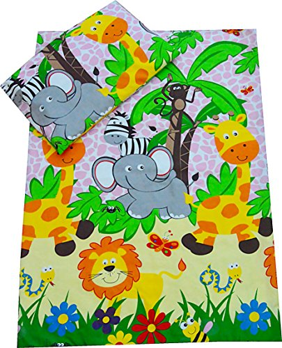 Babies-Island A 2 Piece Bedding Set Pillowcase+Duvet Cover For Baby Toddler To Fit Cot/Cot Bed – PINK AFRICAN ANIMALS (90×120 cm)