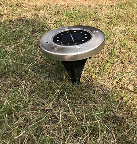 ZEZKT-Home 12LED Boden Licht,Solar Power Begraben Wasserdichte Lampe Outdoor Pfad Licht Rasen Landschaft Decking Solar Lampe Warmes Weiß (12LED)