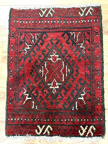 Rugstore-outlet tappeto passatoia afgano aqcha fatto a mano, con frange tribali rosse, 100% lana, 48 x 63 cm