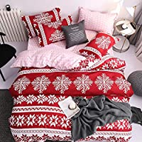 Wayfun Christmas Duvet Cover Set Full - 4pcs Merry Christmas Snowflake Bedding Quilt Set including Red Coverlet Quilt Pillowcases for Home Christmas Decorations