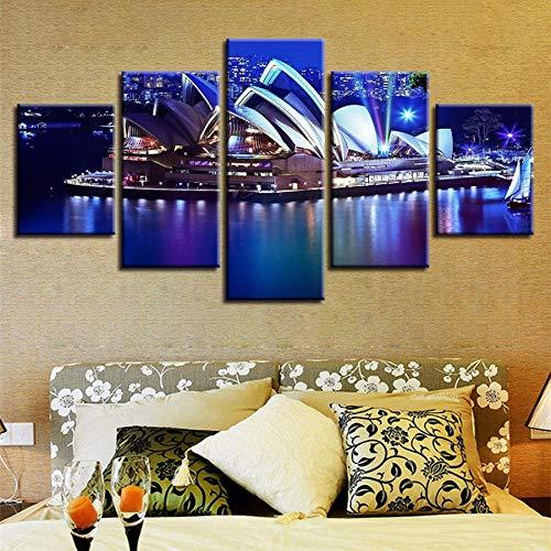 (xzfddn 5 Stücke Sydney Opera House Nightscape Modulare Wandkunst Poster Wohnkultur Wohnzimmer Bilder Leinwand HD Drucken Malerei)