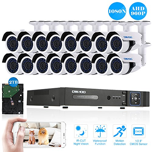 OWSOO-16CH-1080N-DVR-H264-Grabador-2TB-Disco-Duro-16x-960P-AHD-Cmara-Bala-IR-CCTV-16x-60ft-Cable-de-Vigilancia-Soporta-APP-Control-Deteccin-de-Movimiento-Visin-Nocturna