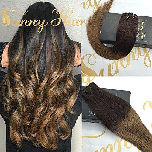 Sunny 18 Zoll/45cm Extensions Clip in Echthaar Ombre Echte Haare 120gramm/7pcs Remy Glatt Clip in Echthaar Haarverlangerung