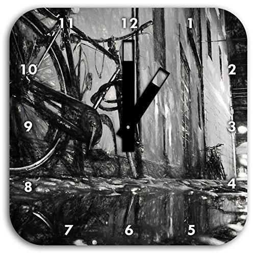 Small Street at Night, Los Angeles Kohle Effekt, Wanduhr Quadratisch Durchmesser 28cm mit schwarzen eckigen Zeigern und Ziffernblatt, Dekoartikel, Designuhr, Aluverbund sehr schön für Wohnzimmer, Kinderzimmer, Arbeitszimmer