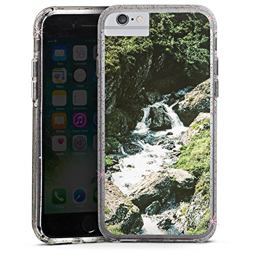 Apple iPhone 7 Bumper Hülle Bumper Case Glitzer Hülle Wasserfall Felsen Gebirge Bumper Case Glitzer rose gold
