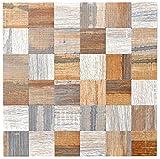 Mosaik Fliese selbstklebend Aluminium grau beige metall Holzoptik für BODEN WAND BAD WC DUSCHE KÜCHE FLIESENSPIEGEL THEKENVERKLEIDUNG BADEWANNENVERKLEIDUNG Mosaikmatte Mosaikplatte
