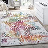 Paco Home Teppich Modern Leinwand Optik Teppich Floral Ornament Muster