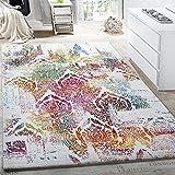 PHC Teppich Modern Leinwand Optik Teppich Floral Ornament Muster Bunt Creme Türkis, Grösse:120x170 cm