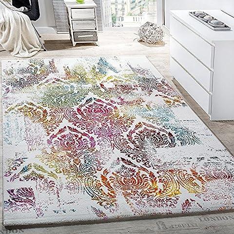 Teppich Modern Leinwand Optik Teppich Floral Ornament Muster Bunt Creme