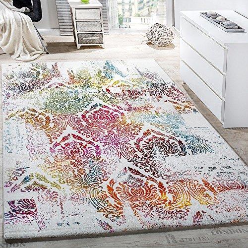Alfombra Moderna Efecto Lienzo Con Dibujo Ornamental Floral Multicolor Crema Turquesa, Grösse:200x290 cm