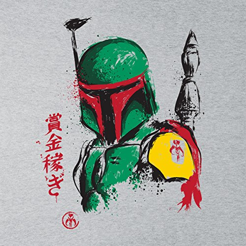 Mandalorian Armor Boba Fett Sumi e Star Wars Women's T-Shirt Heather Grey