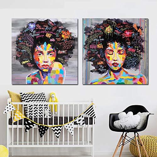 Nackte Amerikanische Frauen Afrikanische Porträt Leinwand Malerei Poster Und Drucke Skandinavischen Wandkunst Wandbild Für Wohnzimmer Dekor PC6572 30x30 cm ungerahmt -
