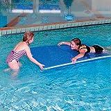 Sport-Thieme Schwimmfloß | Pool-Floß für Schwimmbad u. Freizeit | Robust, Stabil, Auftriebsstark | Oval o. Rechteckig | 195x100x5 cm | Belastbar bis 96 kg | Blau-Weiß | 3,6 kg