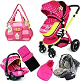 i-Safe System - Mea Lux Trio Travel System Pram & Luxury Stroller 3 in 1 Complete With Car Seat + Foot muff + Car seat Foot muff + Rain Covers+ Bag