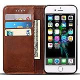 Apple iPhone 6 Plus/6s Plus Flip Case Hülle Leder Handy Hülle Tasche Schale mit 3 Kredit Karten Hülle Geldklammer mit Unsichtbarem Magnet Verschluss und Stand Funktion Schutzhülle,Braun