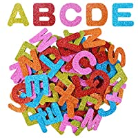 BronaGrand 4 Sets Glitter Foam Letter Stickers Upper Alphabet A-Z Stickers Labels for Cards, Scrapbooking, Wall and Crafts, Mix Colors(104 Letters)