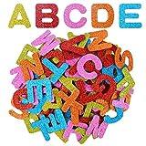 BronaGrand Filzbuchstaben 4 Set Glitter Schaumstoff Aufkleber Buchstaben Sticker Filzstanzteile Buchstaben Selbstklebend, Buchstaben A bis Z, Mehrfarbig, Insgesamt 104 Stück