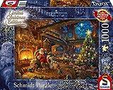 Schmidt Spiele Puzzle 59494 Thomas Kinkade, Der Weihnachtsmann und Seine Wichtel, Limited Edition, 1000 Teile, bunt