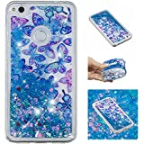 For Huawei P8 Lite 2017 Case With Screen Protector,Huawei P9 Lite 2017 Bling Girly Case For Women,Aearl Cute Glitter Liquid Case Shiny Flowing Floating Soft Protective Cover For Huawei Honor 8 Lite - B07FRZ38HC