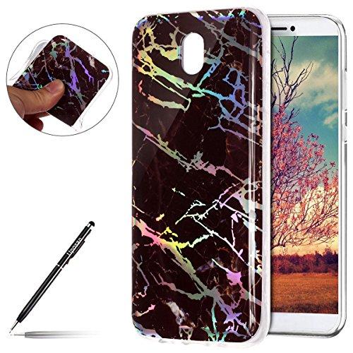 Kompatibel mit Handyhülle Marmor Galaxy J7 2017 Schutzhülle Weich Silikon Hülle Glitzer Marmor Muster Silikon Transparent Tasche Handytasche Durchsichtige Dünne HandyHülle TPU Bumper,Schwarz