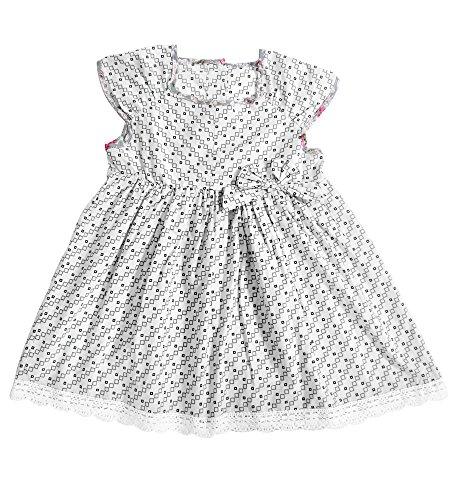 Aikobaby Baby-kurze Hülsen-Blumendruck-Baumwolle einteiliges Säuglingsbehälter-Kleid mit Bowknot (12-18M, grau) (Ribbon Lace-up)