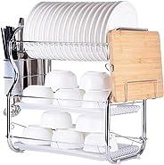 Multi-functional 3-Tier Dish Rack Kitchen Supplies Storage Rack Draining Rack with Chopsticks/Knives/Cutting Board Holder Dra
