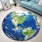 LB Astronomie-Thema Planet Erde Badematte Runde Bereich Teppich Wohnzimmer Schlafzimmer Badezimmer Küche Weichen Teppich Bodenmatte Home Decor,120X120CM