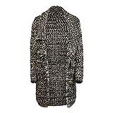 Khujo Damen Strick Cardigan Strickjacke Jacke schwarz sand, Größe:S/M