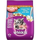 Whiskas Kitten (2-12 months) Dry Cat Food, Ocean Fish with Milk, 3kg Pack