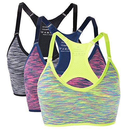 Vertvie 3er Pack Handsome Komfort Damen Starker Halt Gepolsterter Push up Ohne Bügel Sport BH Bustier für Yoga Fitness-Training (EU M/Label L, Grün+Rot+Schwarz) -