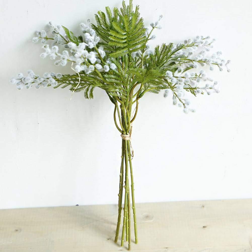 RAZAHA Manojos De Flores Artificiales Flocadas Acacia Novia con Ramo Esponjoso Helecho De Plástico Planta Falsa Hogar…