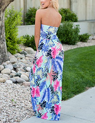 CARINACOCO Damen Bandeau Bustier Kleider mit Blüte Drucken Lange Sommerkleid Abendkleid Partykleid Cocktailkleid Geblümt10