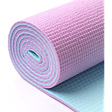 Ligera y doble cara Esterilla de yoga muy ligera y duradera colchoneta de gimnasia de PVC material con estructura reforzada suave goma 5 mm de grosor ...
