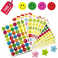10 Sheet 700 Pcs Smiley Happy Face Stickers and Smiley Star Stickers for Boys Girls Teachers as Reward, Parents Kids Craft Scrap Books Decoration, Multi Color