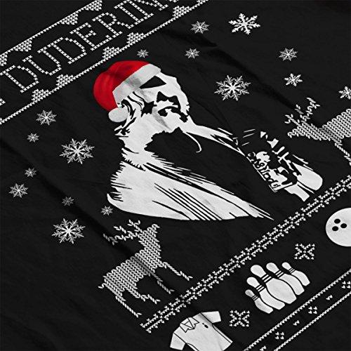 Big Lebowski El Duderino Christmas Knit Women's Hooded Sweatshirt Black