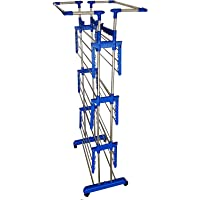 VIMART® SS Cloth Drying/Dryer Stand Extra Strong Heavy Duty Indian Made Jumbo King 4 Layers Super HEIGTHED 4 Tier Layer with 24 Hooks 6.5 FEET HEIGHTED VIMART Floor Cloth Dryer