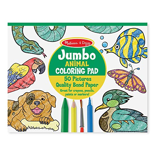 Melissa and Doug Jumbo Coloring Pad - Animals (50 Pictures, 11 x 14 Inches)