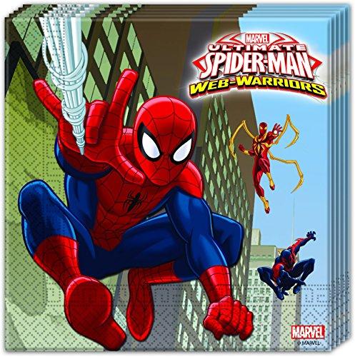 20 Servietten * ULTIMATE SPIDERMAN * für Geburtstag und Motto-Party // Set Napkins Partyservietten Kindergeburtstag Kinder Motto Web Warriors Superheld Spider (Spiderman Superhelden)