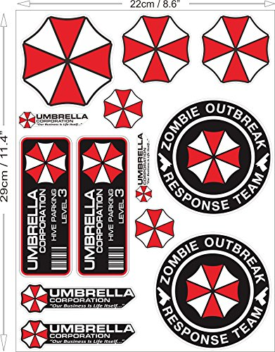 1 Set mit 13 Umbrella Corporation Aufkleber Sticker Resident Evil Zombie / Plus Schlüsselringanhänger aus Kokosnuss-Schale / Auto Motorrad Bike ATV Logo Notebook Laptop Helm Raccoon City  Corporation Notebook