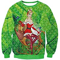 FOOBRTOPOO Novedad Navidad Sudadera navideña Ropa de Abrigo de Invierno Tops Cuello Redondo Cuello Redondo de Navidad Elk O-Cuello Estampado 3D Blusa de Manga Larga Sport Jumpers-XL