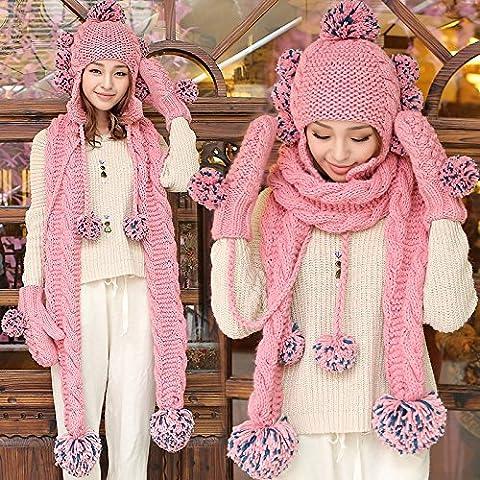 qwer La bella maglia Hat sciarpe guanti a sfera 3