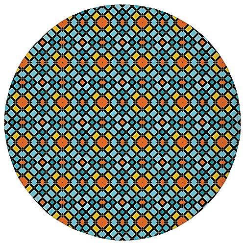 Round Rug Mat Carpet,Geometric,Abstract Aztec Zigzag Various Form Artistic Symmetric Digital Print Decorative,Sky Blue Marigold Orange,Flannel Microfiber Non-slip Soft Absorbent,for Kitchen Floor Bath