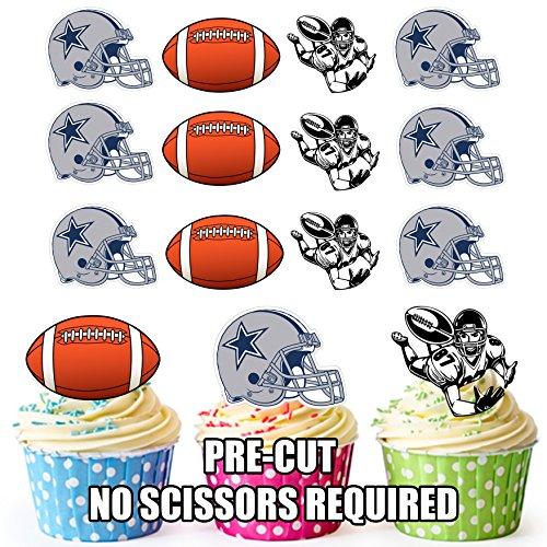 Vorgeschnittene American Football NFL Dallas Cowboys – Essbare Cupcake Topper / Kuchendekorationen (12 Stück)