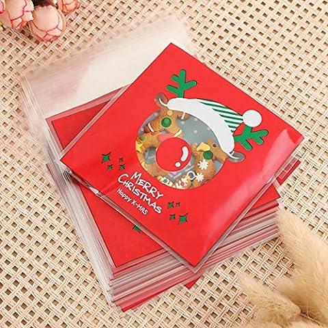 Tutoy 100Pcs Sac De Bonbons De Noël Cookie De Noël Sac D'Emballage Cadeau -13